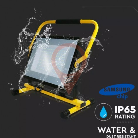 100W LED Floodlight SMD SAMSUNG Chip Black Body 4000K Stand 3m Wire EU Plug