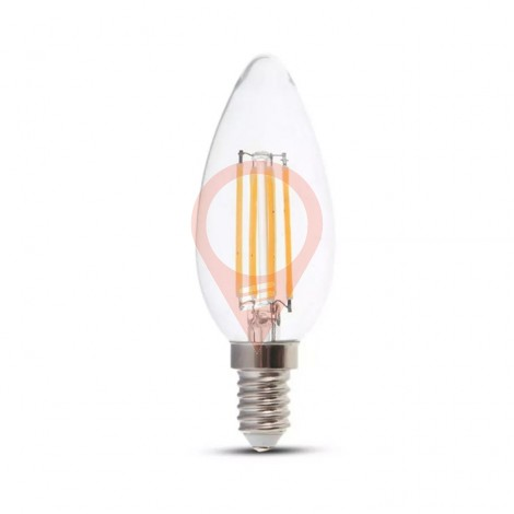 LED Bulb - 6W Filament E14 Clear Cover Candle 3000K 130LM/W