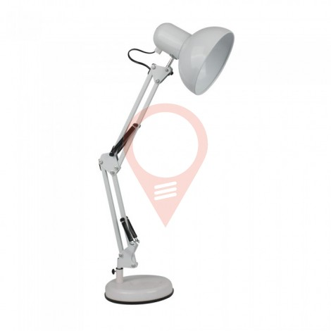 Designer Table Lamp Adjustable Metal Bracket + Switch & E27 Holder - White