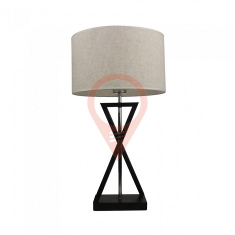 Designer Table Lamp E27 Ivory Shade Black Base Switch Round