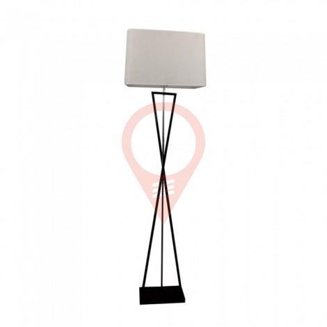 Designer Floor Lamp E27 Ivory Square Lampshade Black Metal Canopy Switch