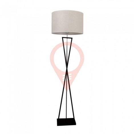 Designer Floor Lamp E27 Ivory Round Lampshade Black Metal Canopy Switch