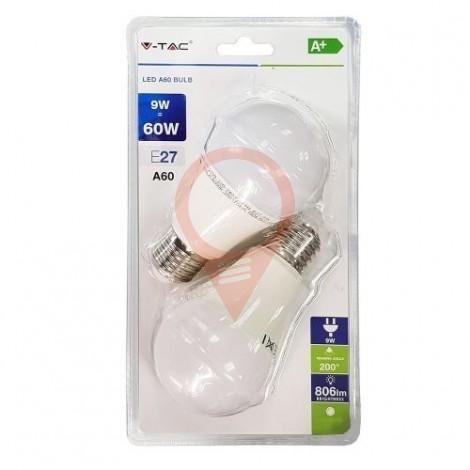 LED Bulb - 9W E27 A60 Thermoplastic Natural White 2PCS/PACK