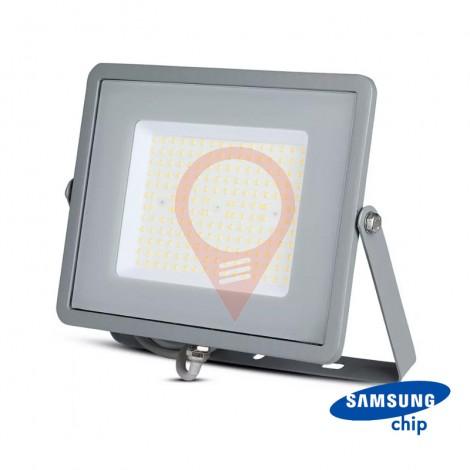 100W LED Floodlight SMD SAMSUNG Chip Slim Grey Body 6400K 120 lm/Watt