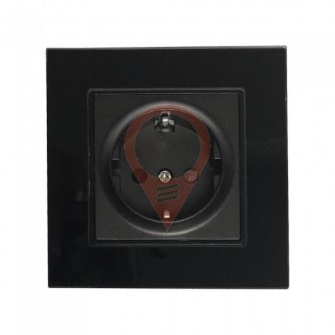 EU Socket 16A Glass Panel Single Black