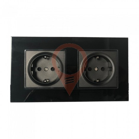 EU Socket 16A Glass Panel Double Black