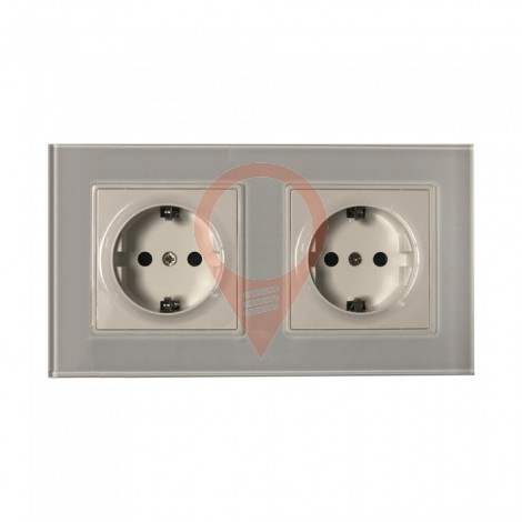 EU Socket 16A Glass Panel Double White