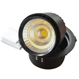 25W LED Downlight Zoom Fitting - Black  Body, White