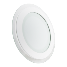 12W LED Mini Panel Glass - Round, White