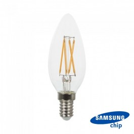 LED Bulb - SAMSUNG CHIP Filament 4W E14 Candle Clear Cover Warm White