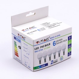 LED Bulb - 5.5W E14 P45 6400K 6PCS/PACK