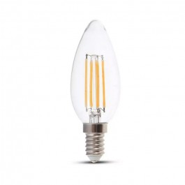 LED Bulb - 6W Filament E14 Clear Cover Candle 3000K 130LM/W