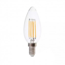LED Bulb 6W Filament E14 Clear Cover Candle 6400K 130 lm/W