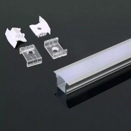 Aluminium Profile 2000 x 23 x 15.5mm Milky