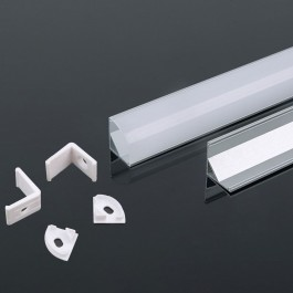 Aluminium Profile 2000 x 15.8 x 15.8mm Milky