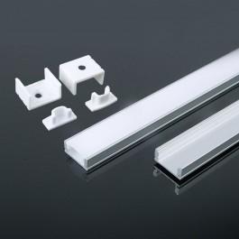 Aluminium Profile 2000 x 17.4 x 7mm Milky