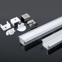 LED Strip Mounting Kit With Diffuser Aluminum 2000 x 24.5 x 12.2mm Milky