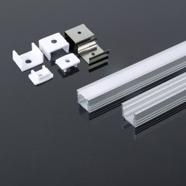 LED Strip Mounting Kit With Diffuser Aluminum 2000 x  17.4 x 12.1mm Milky