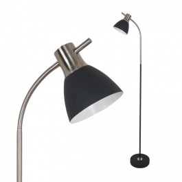 Floor Lamp E27 60W Sand Black + Satin Nickel