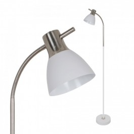Floor Lamp E27 60W Sand White + Satin Nickel