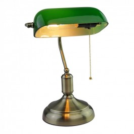 Bankers Table Lamp with Switch E27 Green