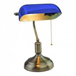 Bankers Table Lamp with Switch E27 Blue