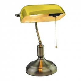 Bankers Table Lamp with Switch E27 Yellow