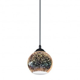 Pendant Light Holder E27 With 3D Glass Lampshade 250mm