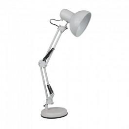 Designer Table Lamp Adjustable Metal Bracket + Switch & E27 Holder - White