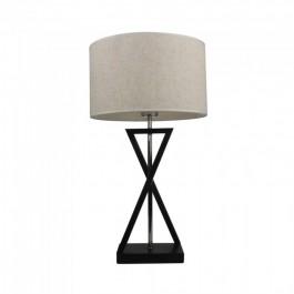 Designer Table Lamp E27 Ivory Shade Black Base Switch Round