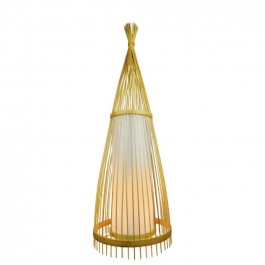 Wooden Floor Lamp Rattan Lampshade