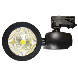 40W LED Euro Track Light COB - Black Body, White