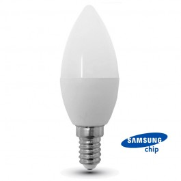 LED Bulb - SAMSUNG CHIP 7W E14 Plastic Candle 4000K