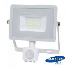 20W LED Sensor Floodlight SAMSUNG CHIP Cut-OFF Function White Body 3000K