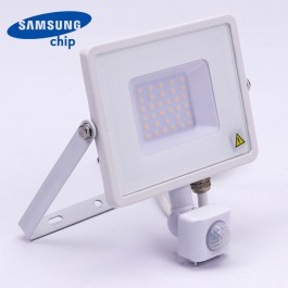 30W LED Sensor Floodlight SAMSUNG Chip Cut-OFF Function White Body 3000K