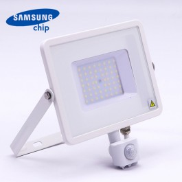 50W LED Sensor Floodlight SAMSUNG CHIP Cut-OFF Function White Body 3000K