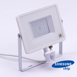 50W LED Sensor Floodlight SAMSUNG Chip Cut-OFF Function White Body 6400K