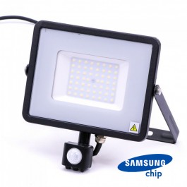 50W LED Sensor Floodlight SAMSUNG Chip Cut-OFF Function Black Body 3000K