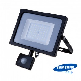 50W LED Sensor Floodlight SAMSUNG CHIP Cut-OFF Function Black Body 4000K