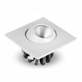 3W LED Downlight Adjustable Square - White Body, Warm White