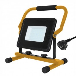50W LED Floodlight with Stand And EU Plug Black Body SMD White