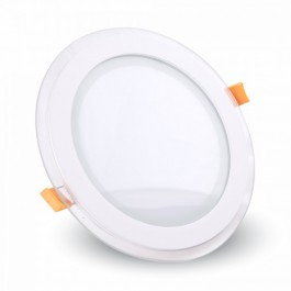 12W LED Mini Panel Glass - Round, Natural White