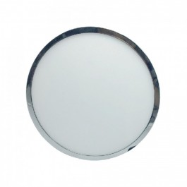 6W LED Surface Panel Light Chrome Round White