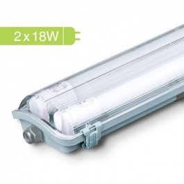 LED Waterproof Lamp Fitting with 2 x 18W 120 cm Tubes White