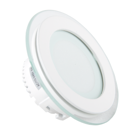 6W LED Mini Panel Glass - Round, Warm White
