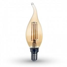 LED Bulb - 4W Filament E14 Candle Amber Cover Tail Warm White