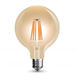 Filament LED Bulb - 8W E27 G125 Amber Dimmable, Warm White