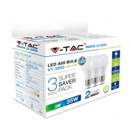 LED Bulb - 5W E27 A55 Thermoplastic Warm White 3PCS/PACK