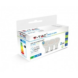 LED Spotlight - 5W GU10 SMD White Plastic, Natural White 3PCS/PACK
