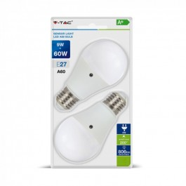 LED Bulb - 9W E27 A60 Thermoplastic Day&Night Sensor Natural White 2PCS/PACK